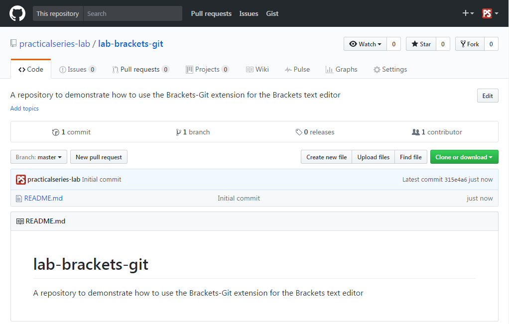 Creating an empty GitHub repository for Brackets-Git