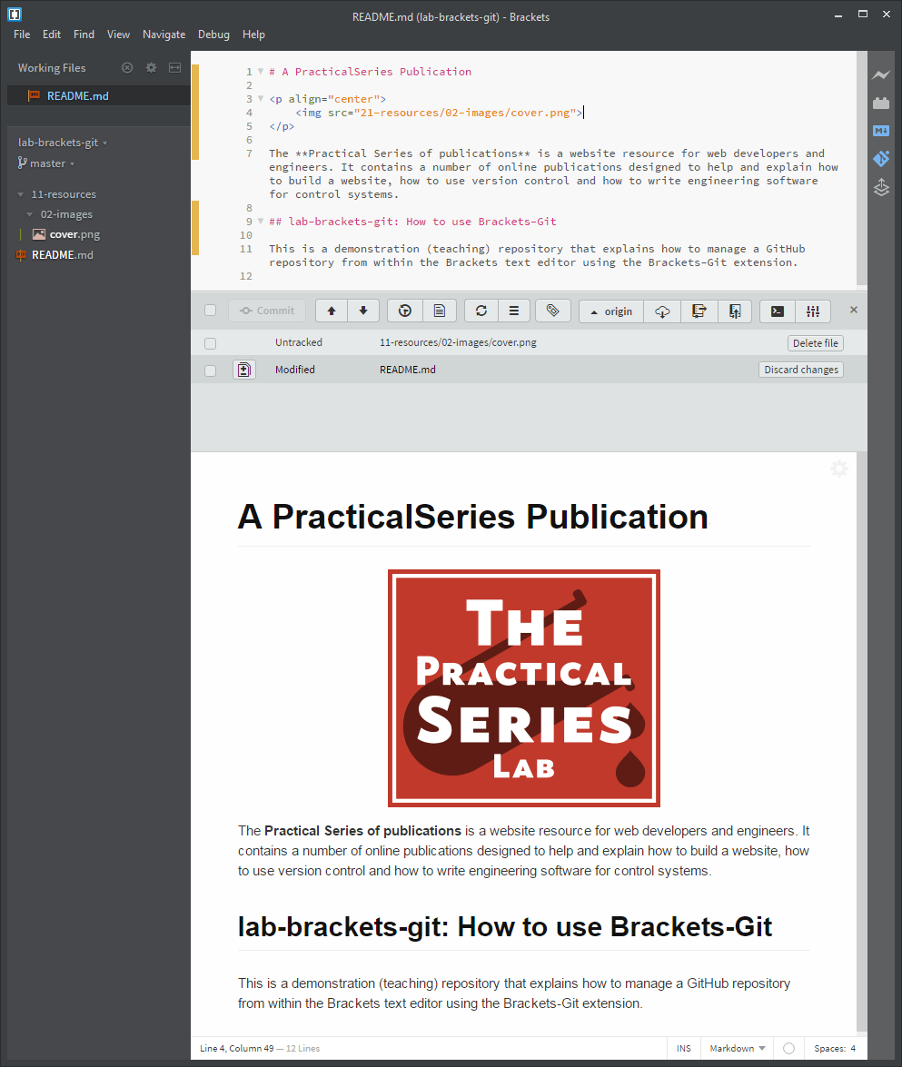 Changes, commits and pushing from Brackets-Git | PracticalSeries